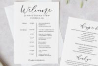 Printable Wedding Itinerary Template Wedding Weekend   Etsy Throughout Simple Destination Wedding Weekend Itinerary Template