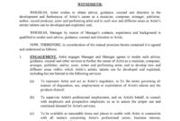 Editable 50 Artist Management Contract Templates Ms Word For Artist Management Contracts Template
