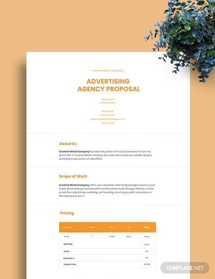 Free Advertising Agency Proposal Templates Word | Google Inside Fantastic Advertising Proposal Template