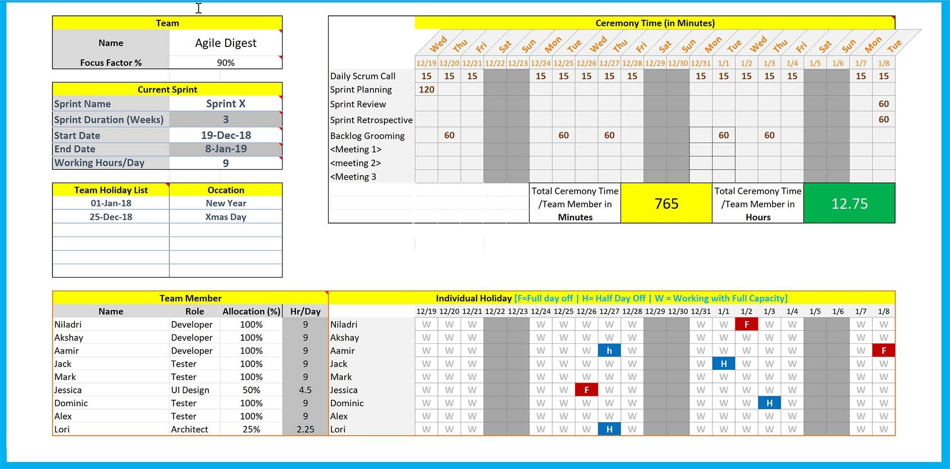 How To Excel 2020 Calendar Template Sprint   Get Your Pertaining To Capacity And Availability Management Template