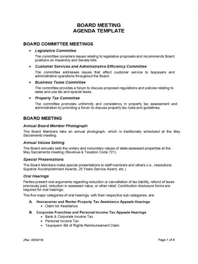 Printable Board Meeting Agenda Template California Free Inside Fascinating Advisory Board Meeting Agenda Template