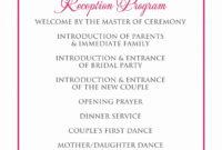 Wedding Reception Program Template Unique Signatures Inside Wedding Reception Agenda Template