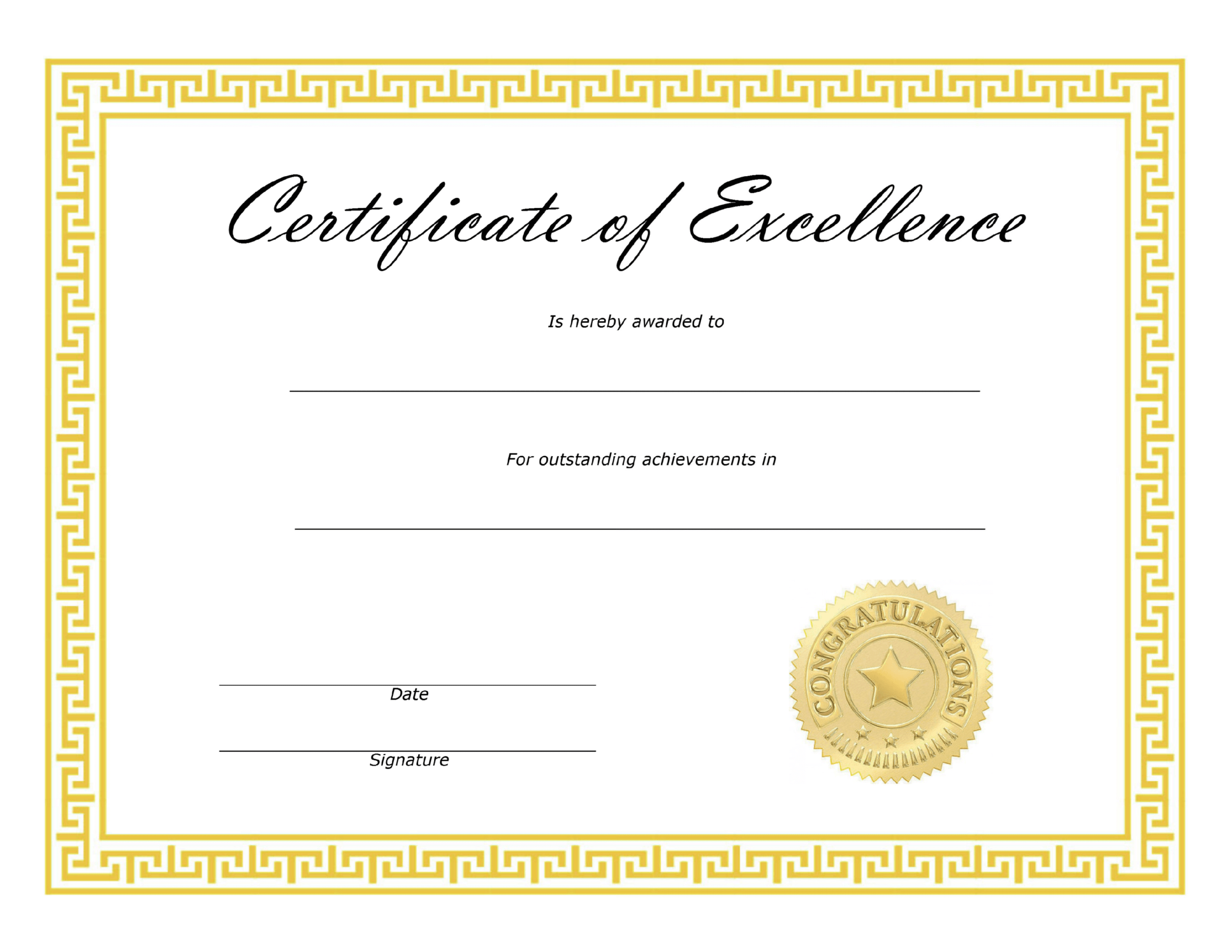 New Award Of Excellence Certificate Template With Regard To Award Of Excellence Certificate Template
