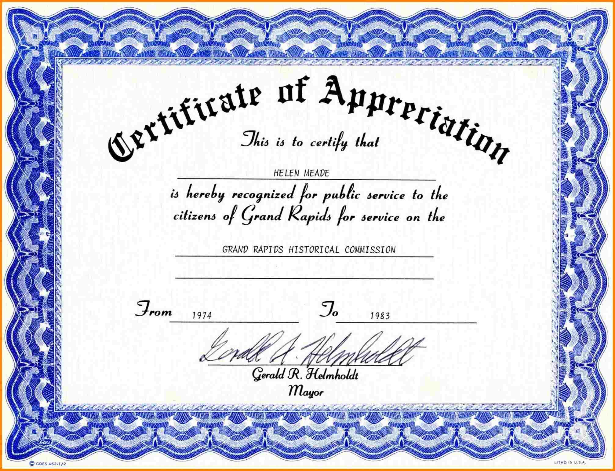Certificate Of Appreciation Template Free  Task List Intended For For Certificates Of Appreciation Template