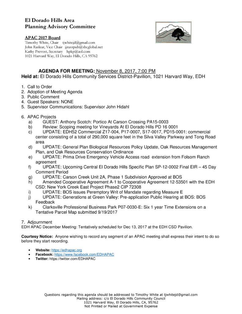 Edh Apac November 2017 Meeting Agenda El Dorado Hills Inside Advisory Board Meeting Agenda Template
